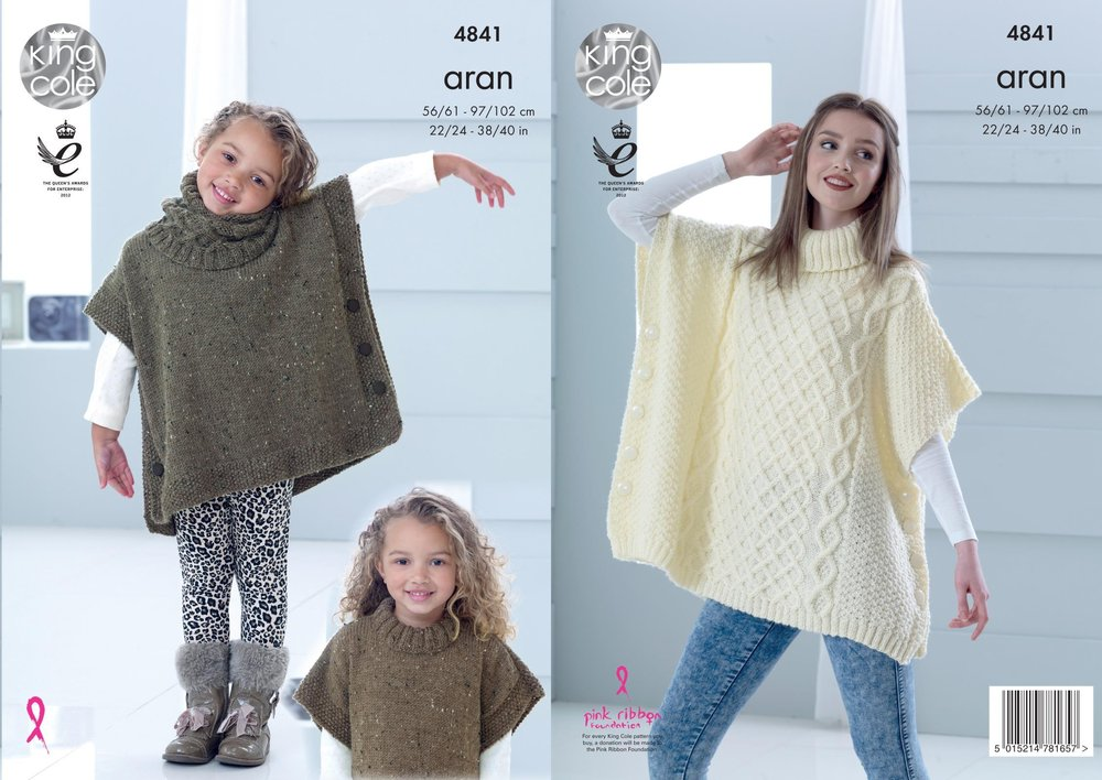 King Cole 4841 Knitting Pattern Childs & Adult Poncho & Snood in ...