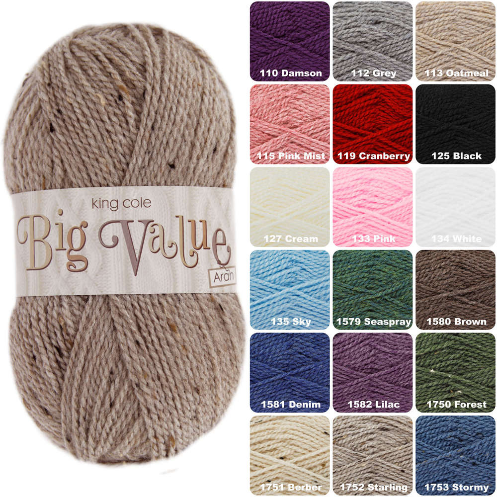 2561d8367925bd King Cole Big Value Aran Acrylic Knitting Wool