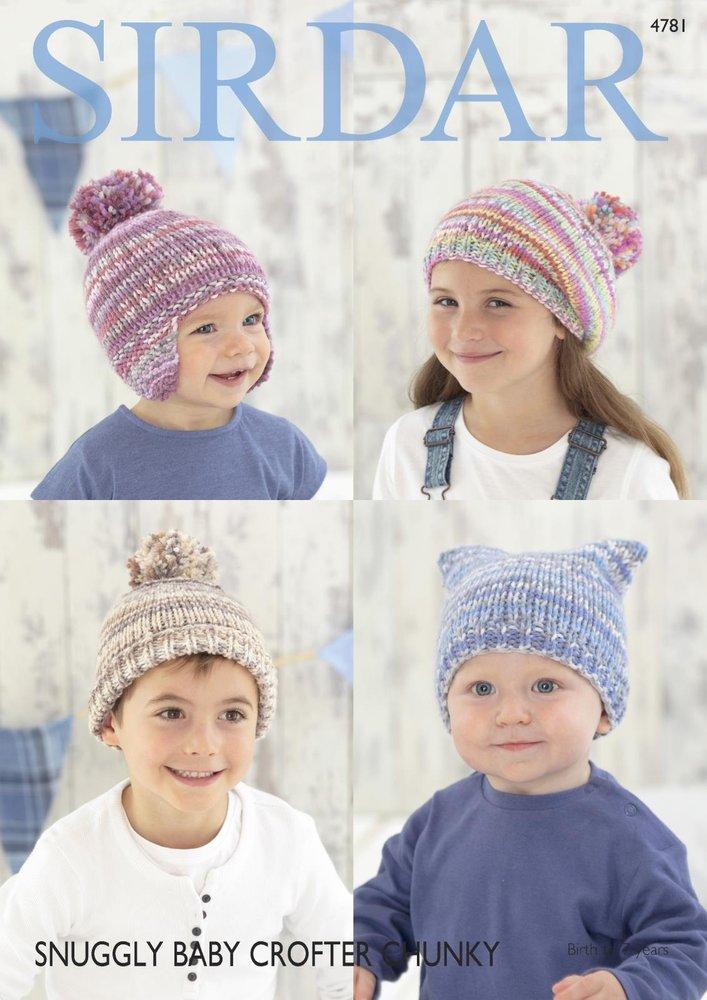 802c969f4c2d Sirdar 4781 Knitting Pattern Baby Childrens Hats Helmet Beret in ...