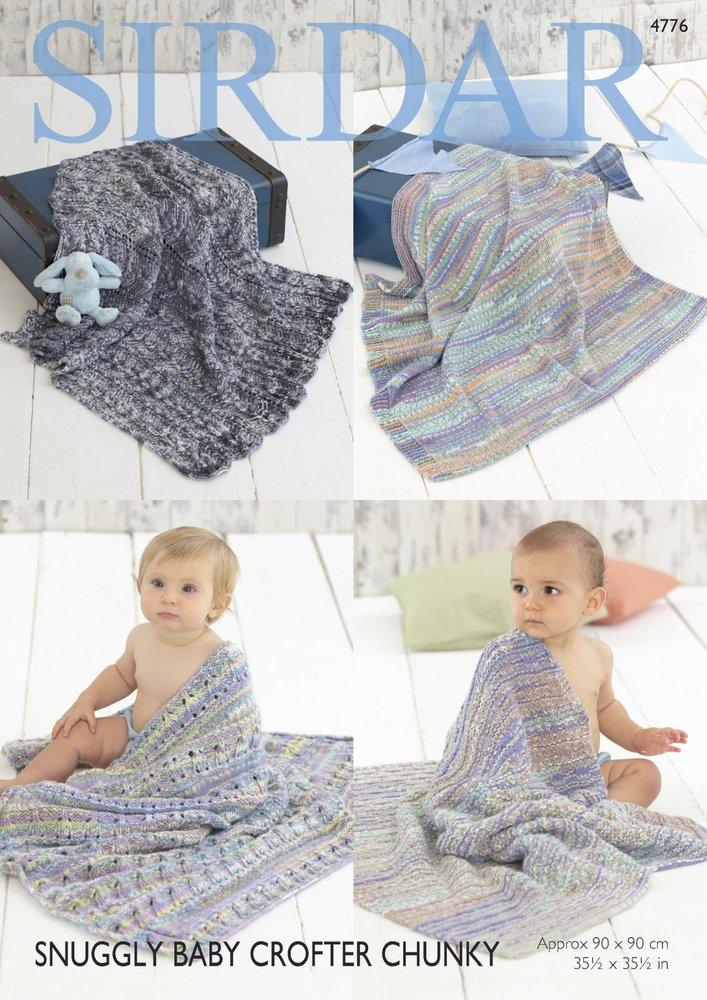 Sirdar 4776 Knitting Pattern Baby Blankets In Sirdar Snuggly Baby