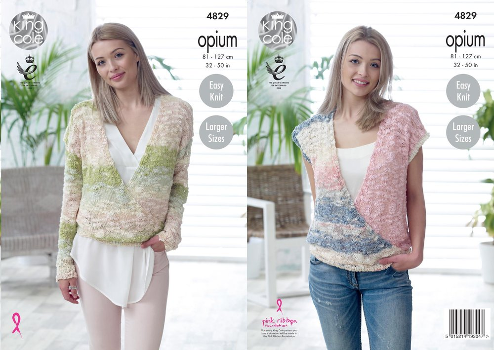 36eb47168 King Cole 4829 Knitting Pattern Womens Sweater and Top in King Cole Opium -  Athenbys