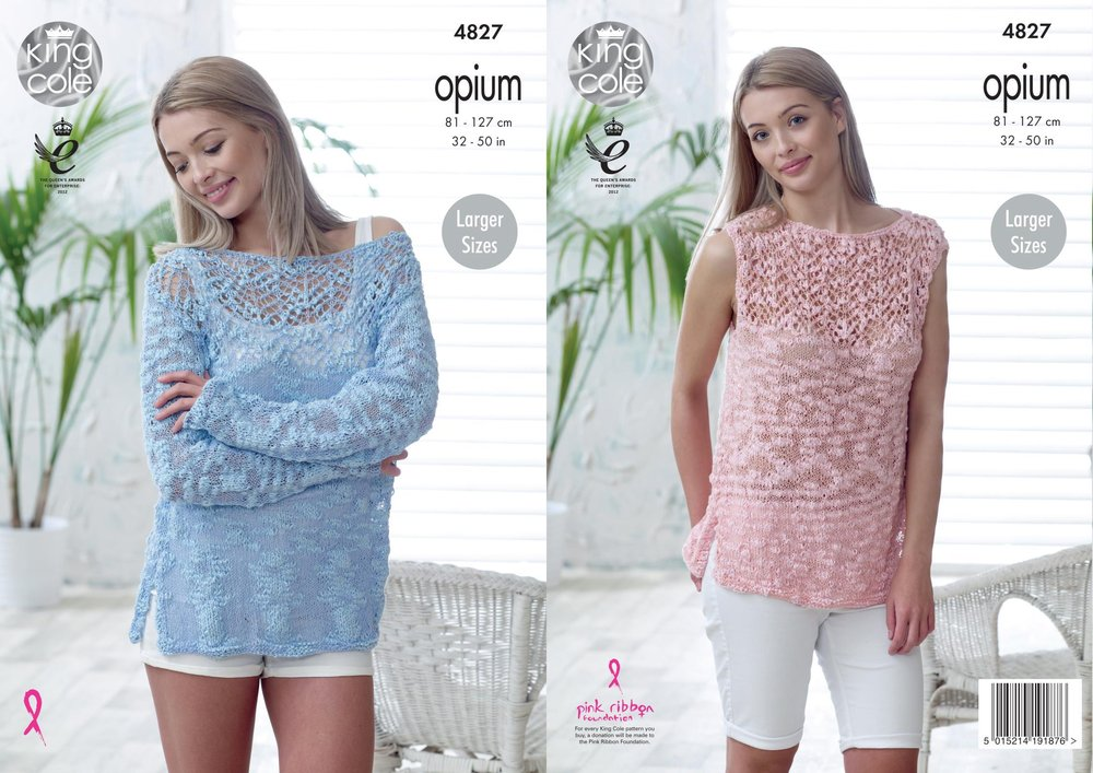 8a7006d88 King Cole 4827 Knitting Pattern Womens Sweater and Top in King Cole Opium -  Athenbys
