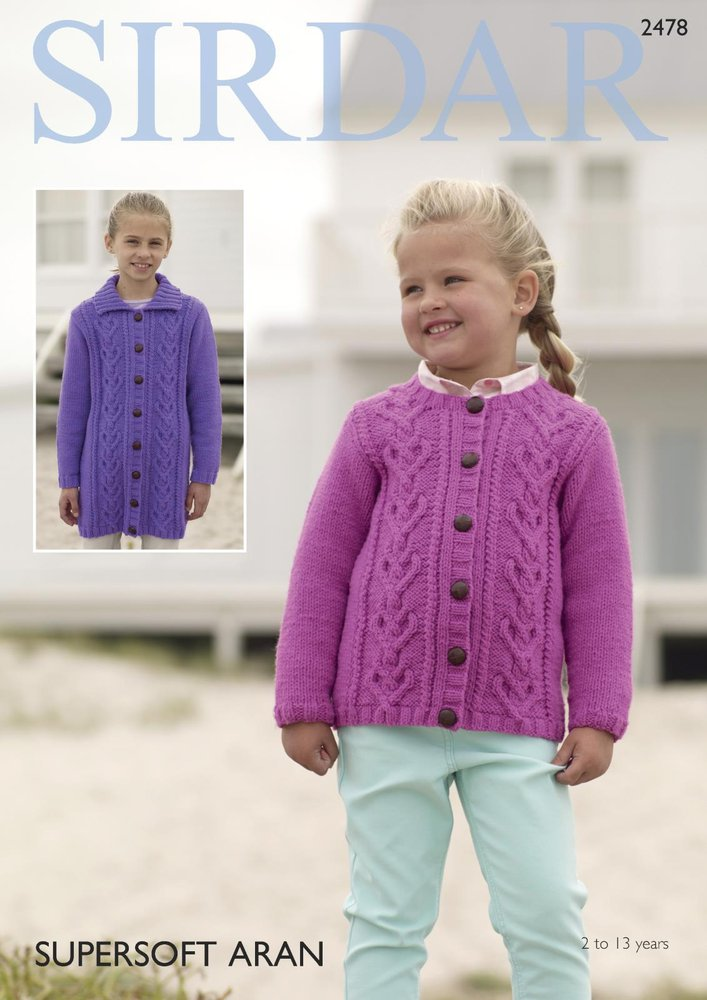 6eff9e95cc77 Sirdar 2478 Knitting Pattern Girls Round Neck and Collared Cardigans ...