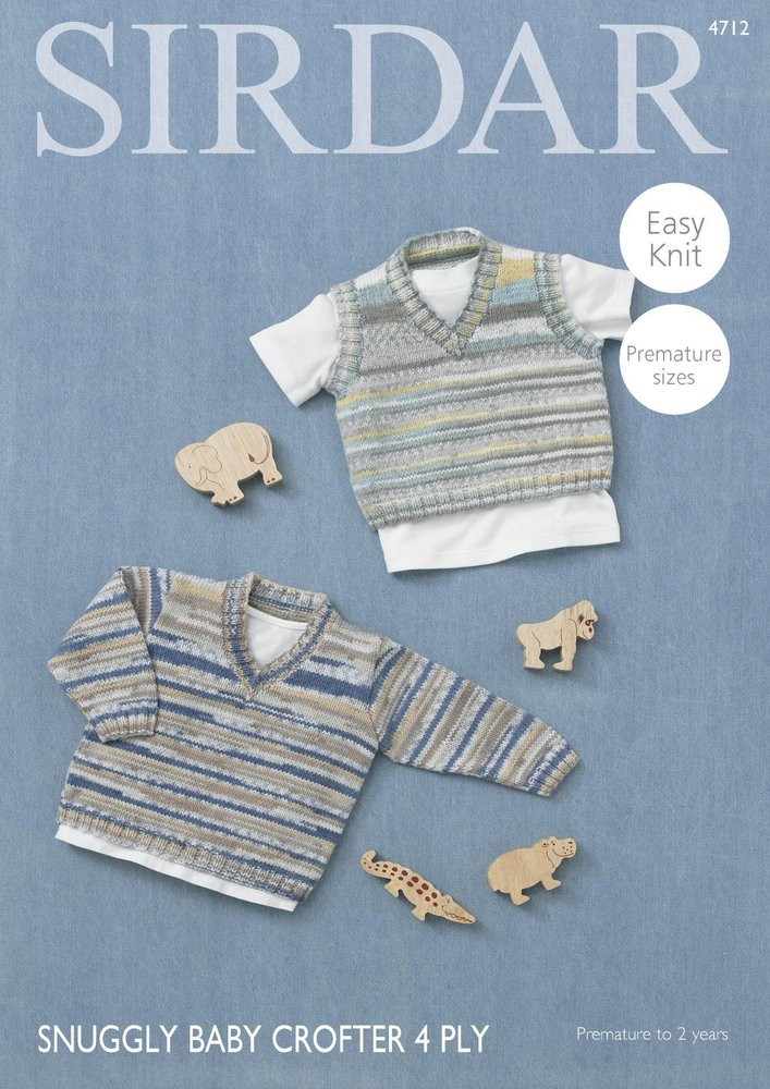 Sirdar 4712 Knitting Pattern Baby V Neck Sweater Tank Top In