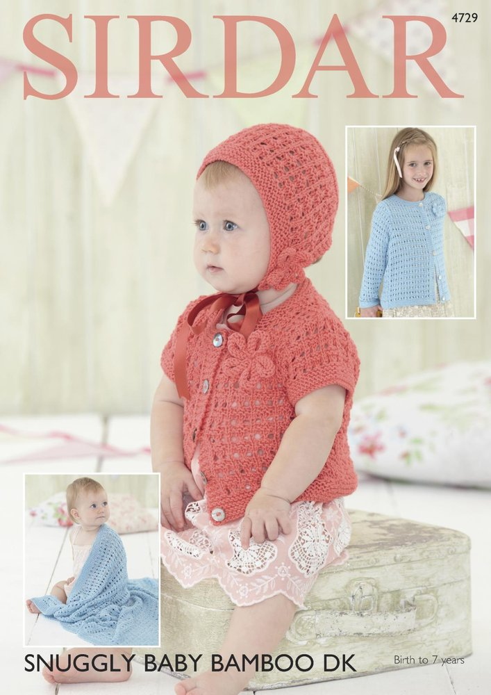Sirdar 4729 Knitting Pattern Baby Childrens Cardigans Bonnet And