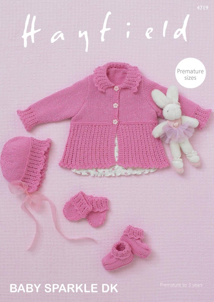 Sirdar 4719 Knitting Pattern Baby Cardigan Bonnet Bootees Mittens In