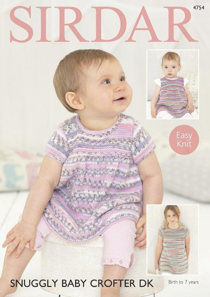Sirdar 4754 Knitting Pattern Baby & Girls Easy Knit Dresses in ...