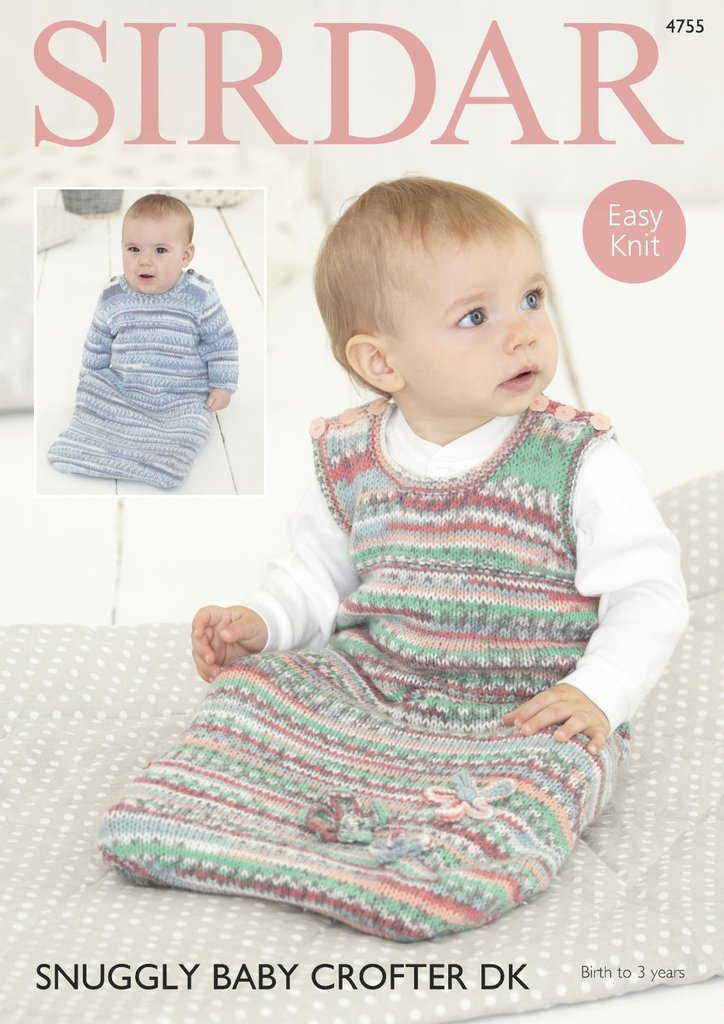 Sirdar 4755 Knitting Pattern Baby Easy Knit Sleeping Bags