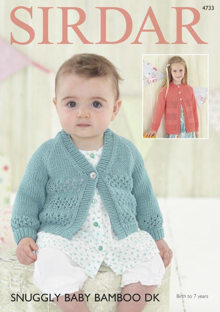 Sirdar 4733 Knitting Pattern Baby Girls Round Neck V Neck