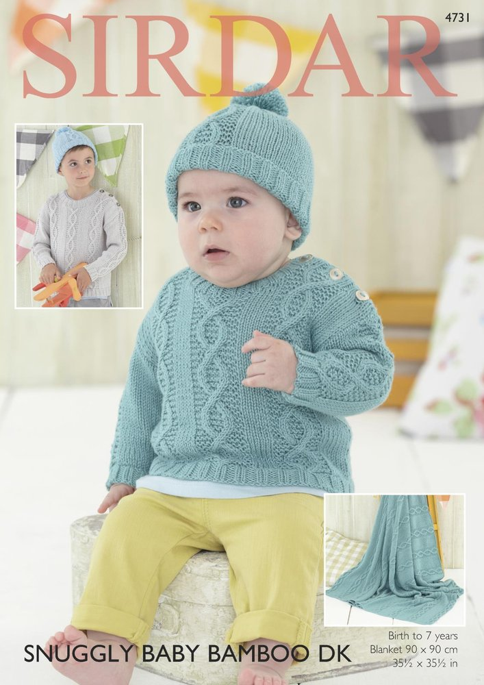 Sirdar 4731 Knitting Pattern Baby & Childrens Sweater Hat & Blanket ...