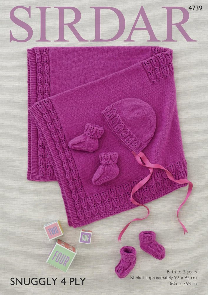 Sirdar 4739 Knitting Pattern Baby Blanket Bonnet And Bootees In