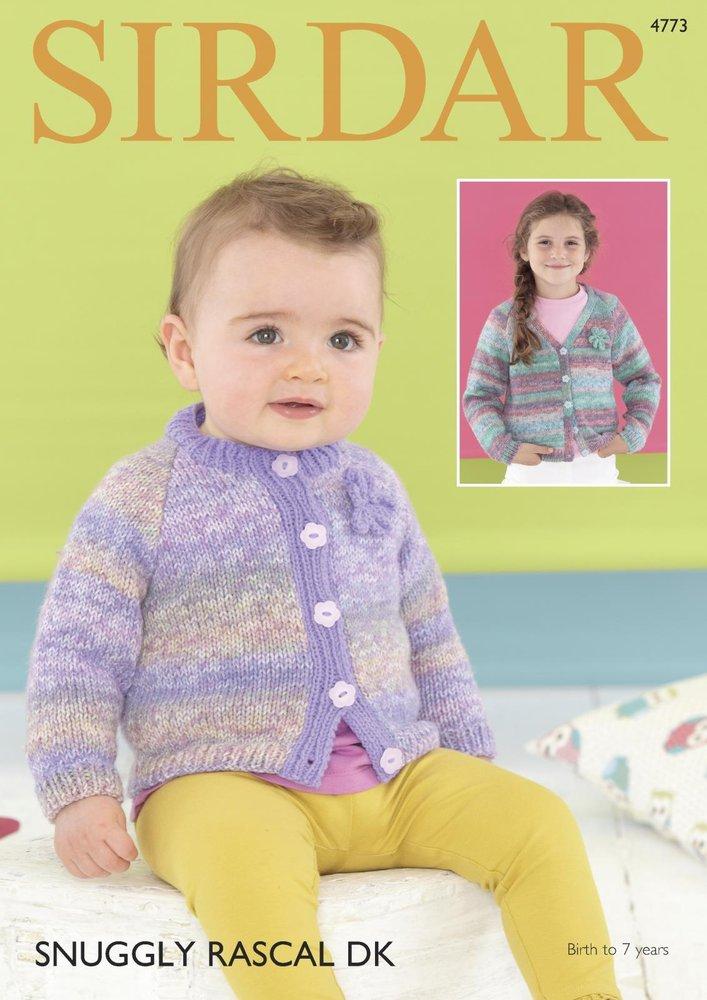 8c2a782ae Sirdar 4773 Knitting Pattern Baby   Girls Cardigans in Sirdar Snuggly  Rascal DK   Snuggly DK - Athenbys
