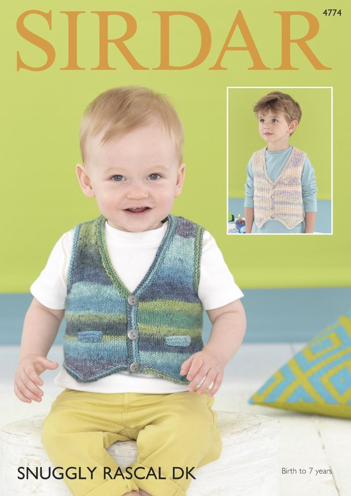 Sirdar 4774 Knitting Pattern Baby Childrens Waistcoats In Sirdar