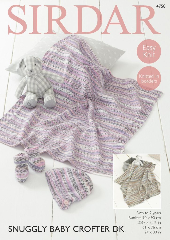 Sirdar 4758 Knitting Pattern Baby Blankets Bootees & Bonnet in ...