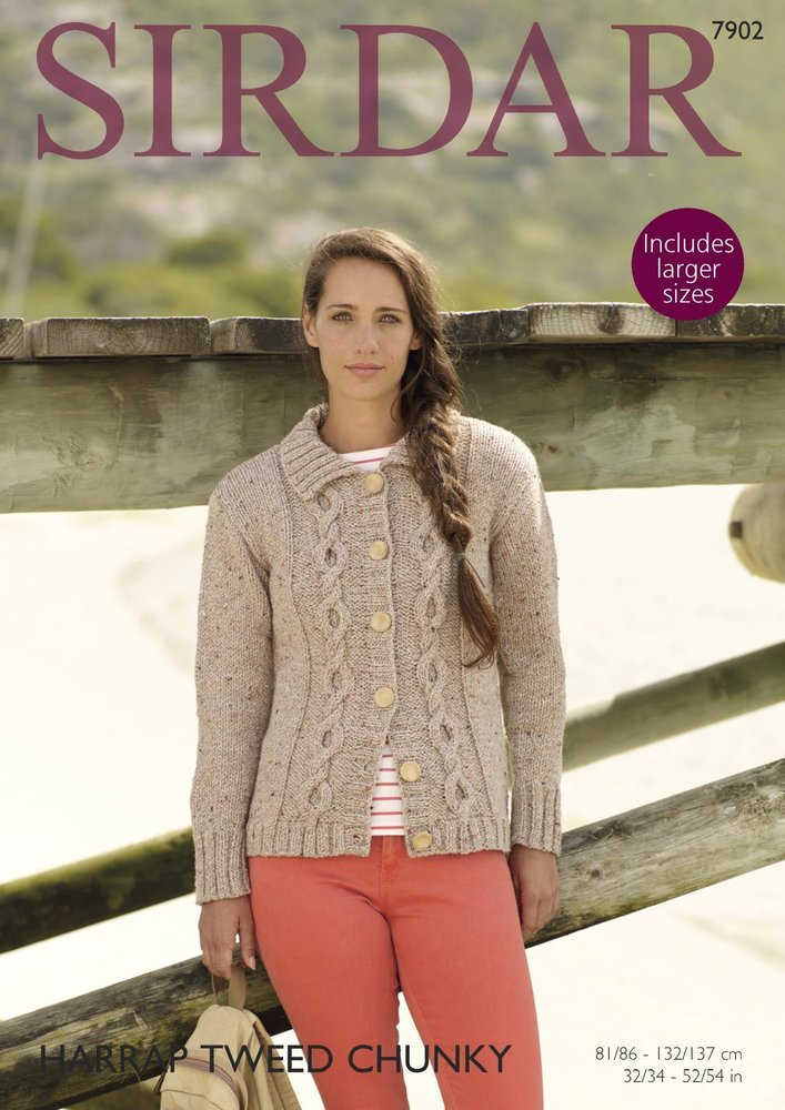 Sirdar 7902 Knitting Pattern Womens Cable Cardigan In Sirdar Harrap