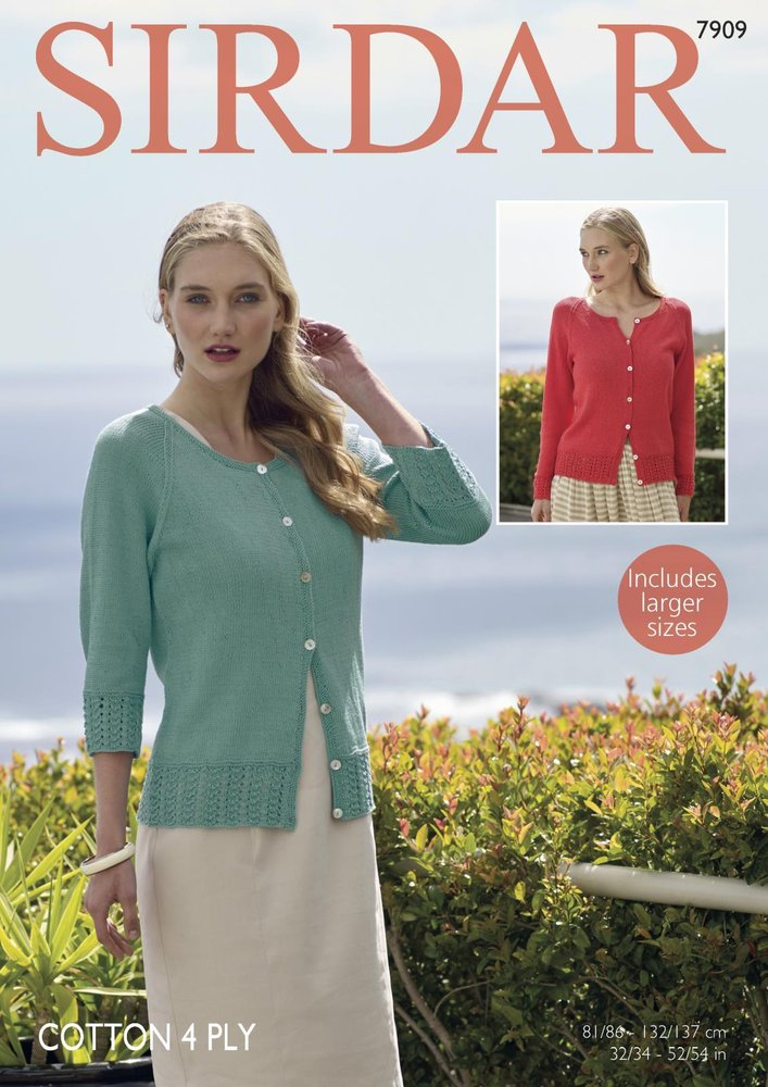 Sirdar 7909 Knitting Pattern Womens Long Sleeved And 34 Sleeved