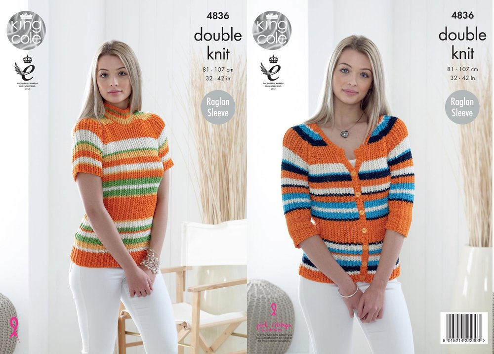 King Cole 4836 Knitting Pattern Womens Raglan Striped Top and ...