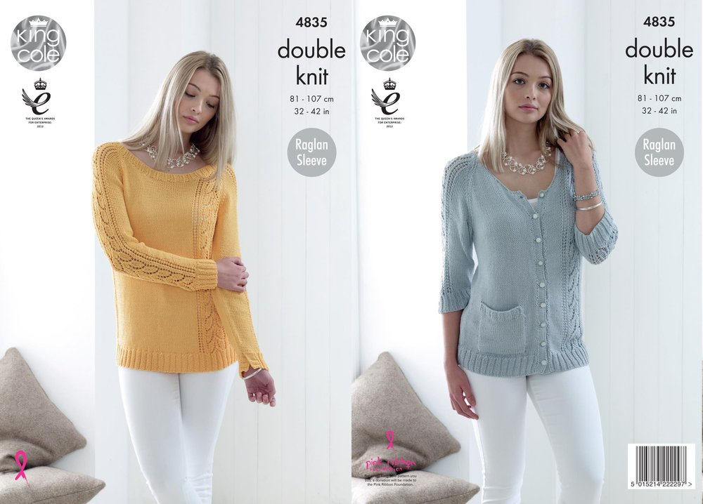 61ff71564 King Cole 4835 Knitting Pattern Womens Raglan Sweater and Cardigan in King  Cole Bamboo Cotton DK