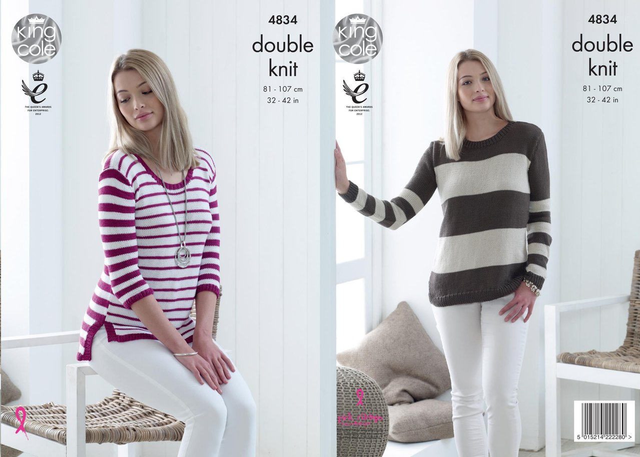 King Cole 4834 Knitting Pattern Womens Striped Sweaters in King Cole ...