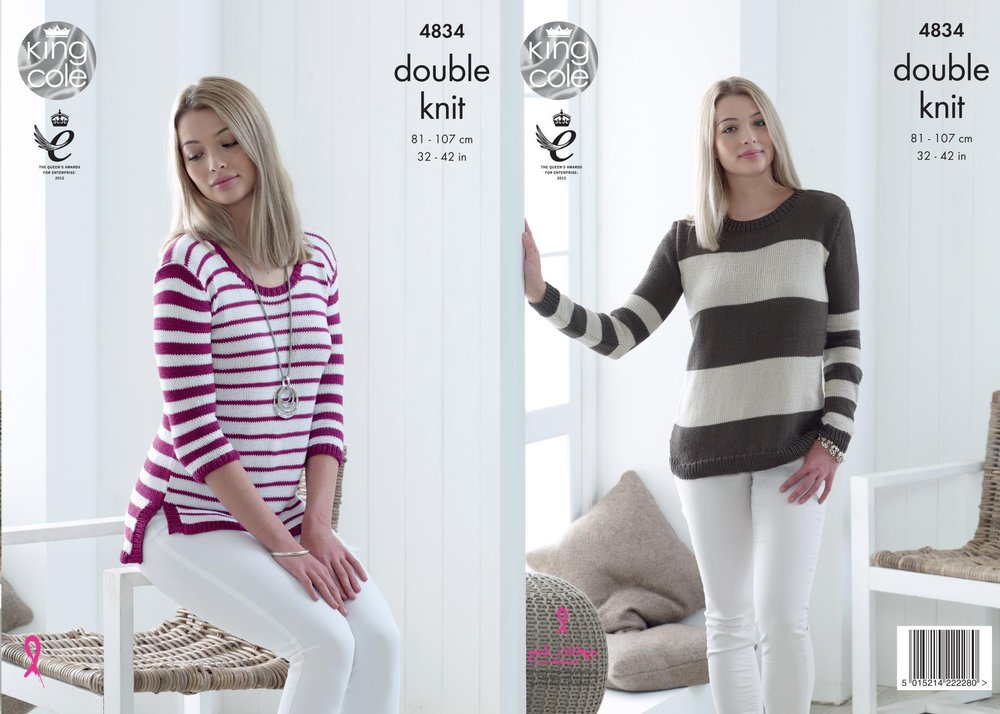 King Cole 4834 Knitting Pattern Womens Striped Sweaters In King Cole