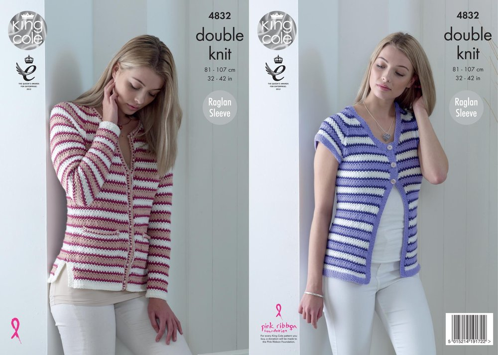 King Cole 4832 Knitting Pattern Womens Striped Raglan Cardigans in ...