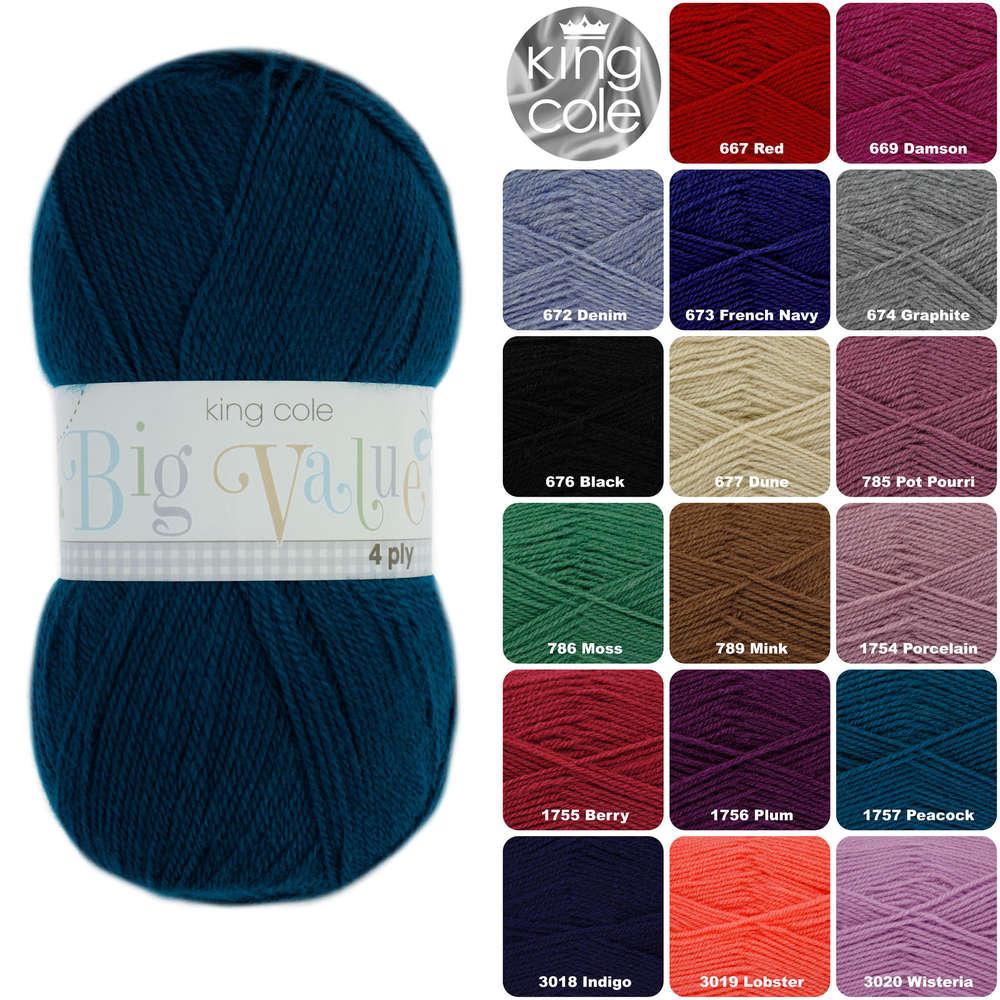 433c476467d King Cole Big Value 4ply 100% Acrylic Knitting Yarn