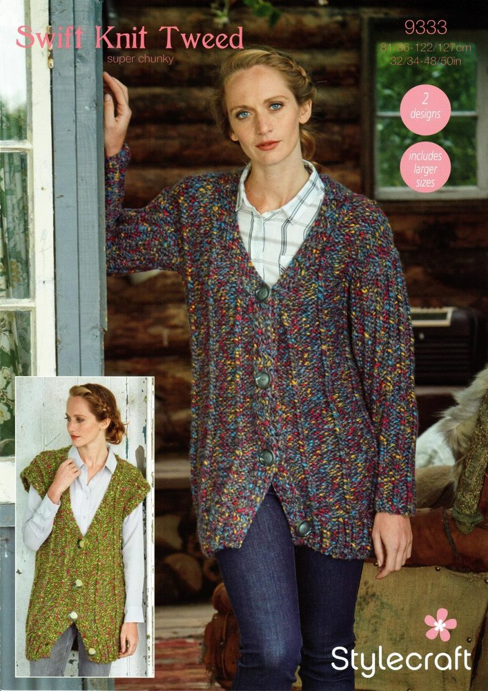 c8076623e Stylecraft 9333 Knitting Pattern Womens Cardigan and Waistcoat in Swift Knit  Tweed Super Chunky - Athenbys