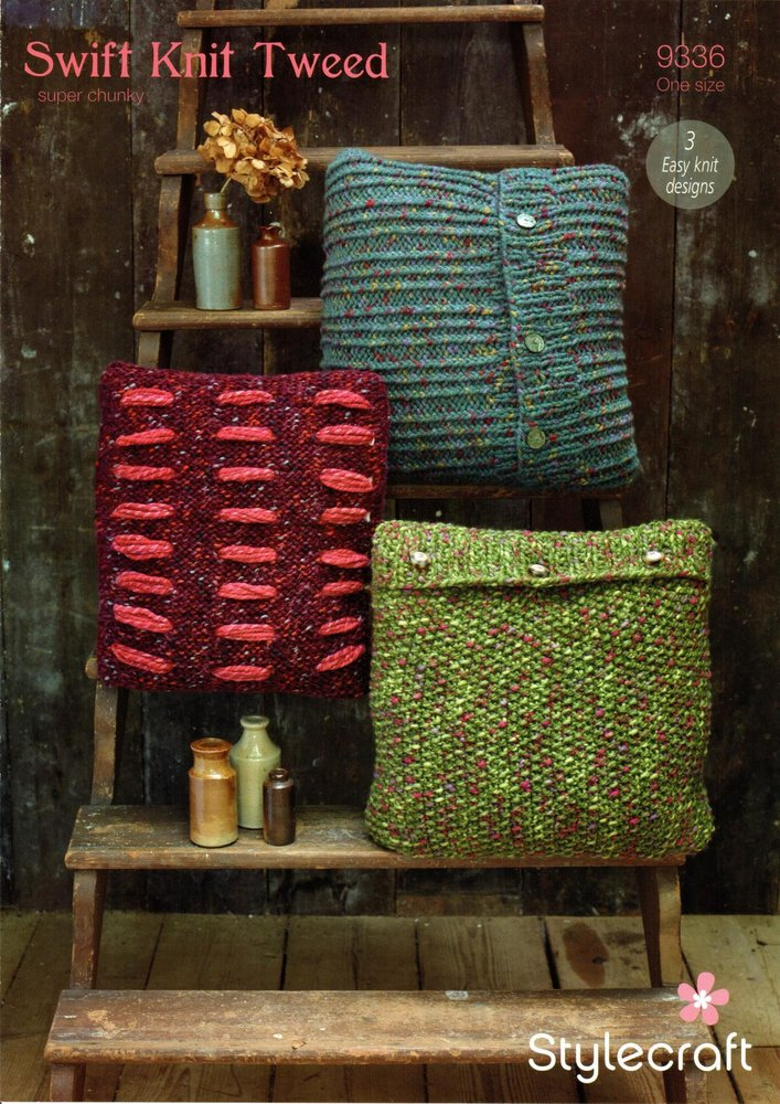 Stylecraft 9336 Knitting Pattern Easy Knit Cushion Covers In Swift
