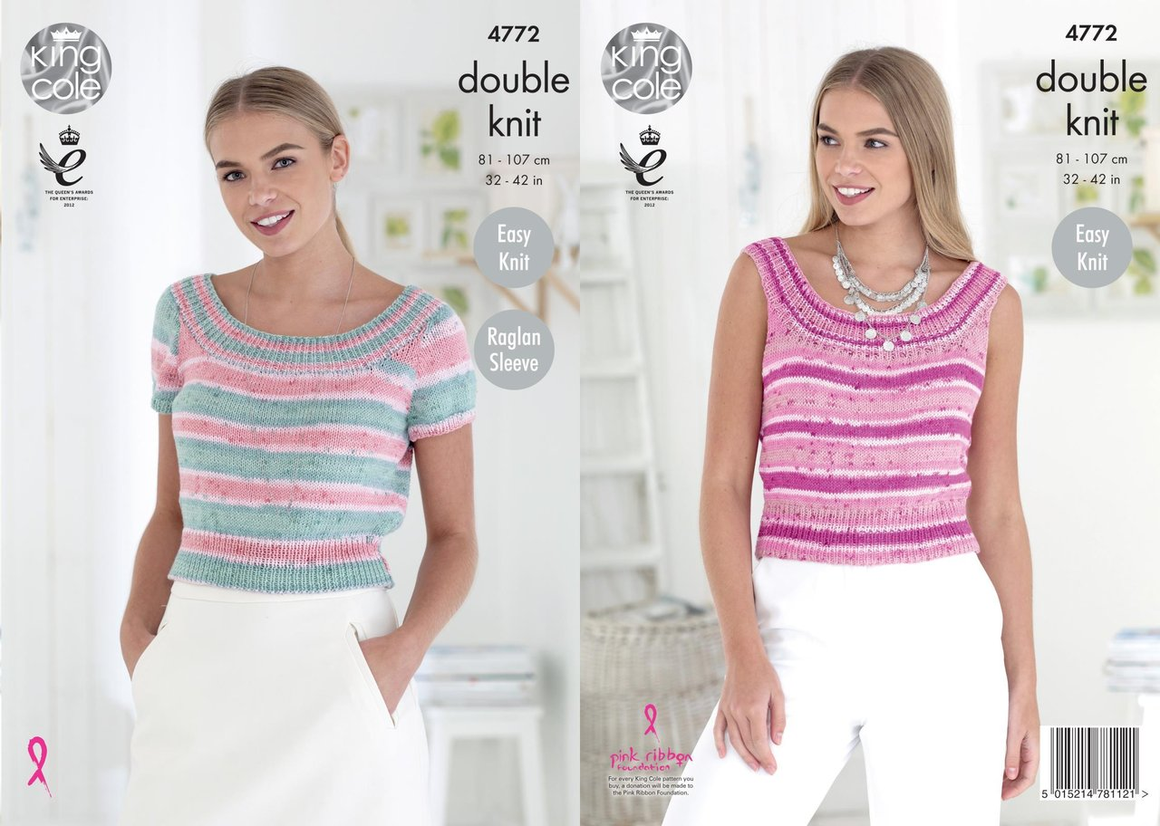 King Cole 4772 Knitting Pattern Womens Raglan Easy Knit Tops in King ...