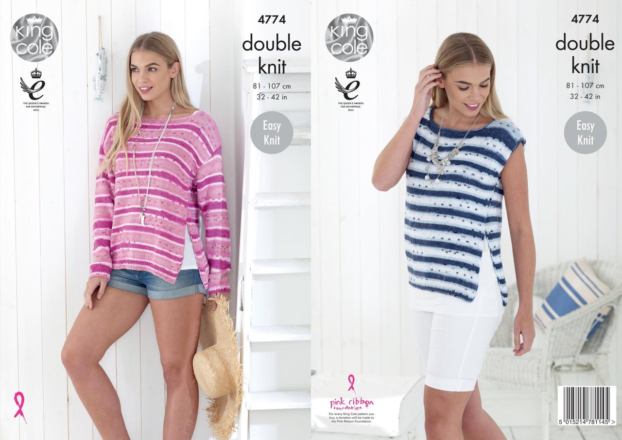 King Cole 4774 Knitting Pattern Womens Easy Knit Top and Sweater in ...