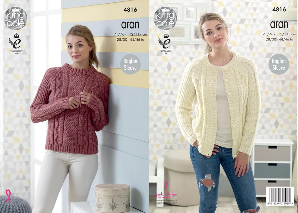 King Cole 4816 Knitting Pattern Womens Raglan Sweater And Cardigan