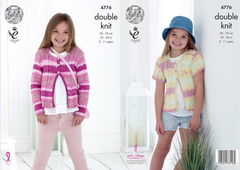 b95d2198d King Cole 4776 Knitting Pattern Girls Cardigans in King Cole Cottonsoft  Crush DK - Athenbys