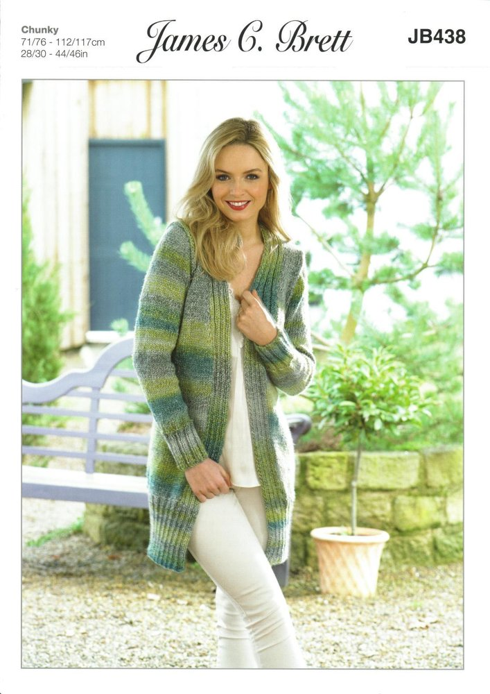 4e3256902 James C Brett JB438 Knitting Pattern Womens Long Cardigan   Jacket in James  C Brett Marble Chunky - Athenbys