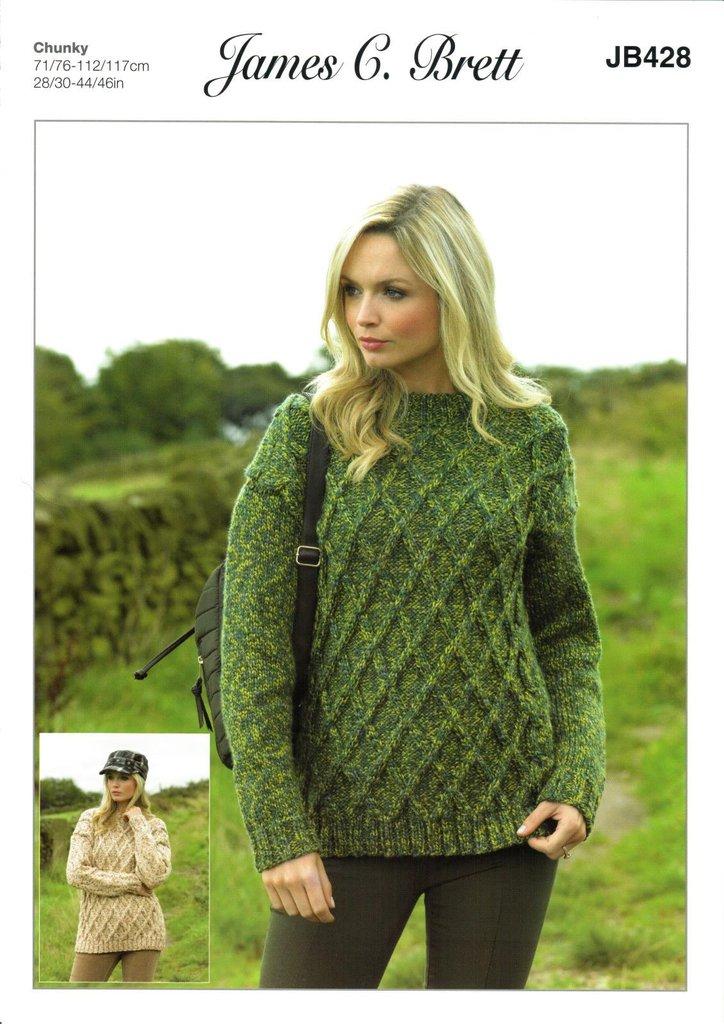 James C Brett JB428 Knitting Pattern Womens Sweater in James C Brett ...