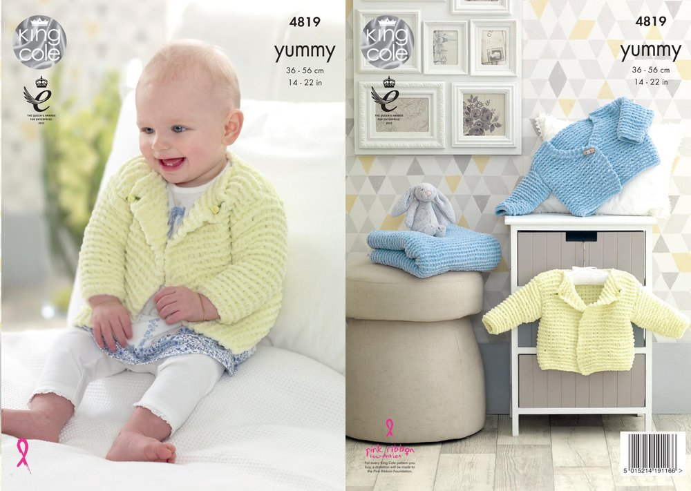 3f2c4de30 King Cole 4819 Knitting Pattern Baby Cardigans and Blanket in King Cole  Yummy Chunky - Athenbys