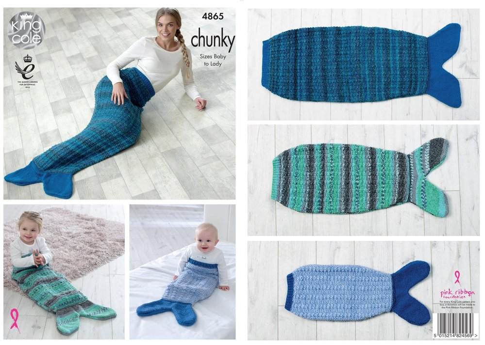 Adult Sizes King Cole DK 4692 Mermaid Tail Blankets Knitting Pattern knit Baby
