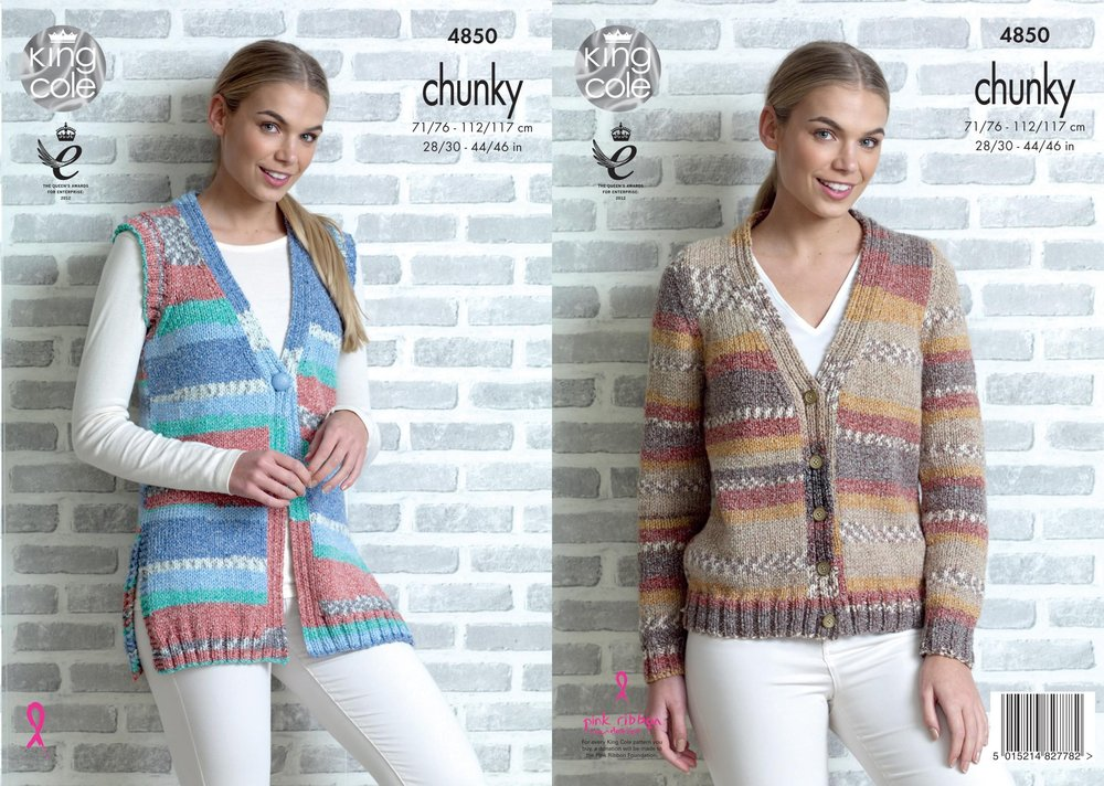 18ab60dc114c7 King Cole 4850 Knitting Pattern Womens Cardigan and Waistcoat in King Cole  Drifter Chunky - Athenbys