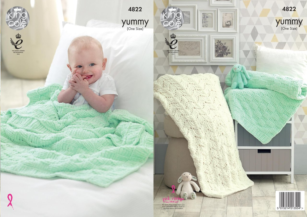 King Cole 4822 Knitting Pattern Baby Blankets in King Cole Yummy ...