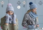 King Cole 4869 Knitting Pattern Womens Snoods Hats and Mitts in King Cole Baby Alpaca DK