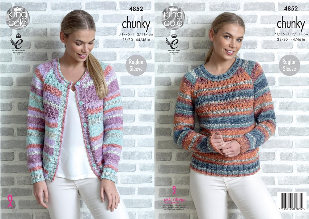 7974f3376 King Cole 4852 Knitting Pattern Womens Raglan Cardigan and Sweater in King  Cole Drifter Chunky - Athenbys