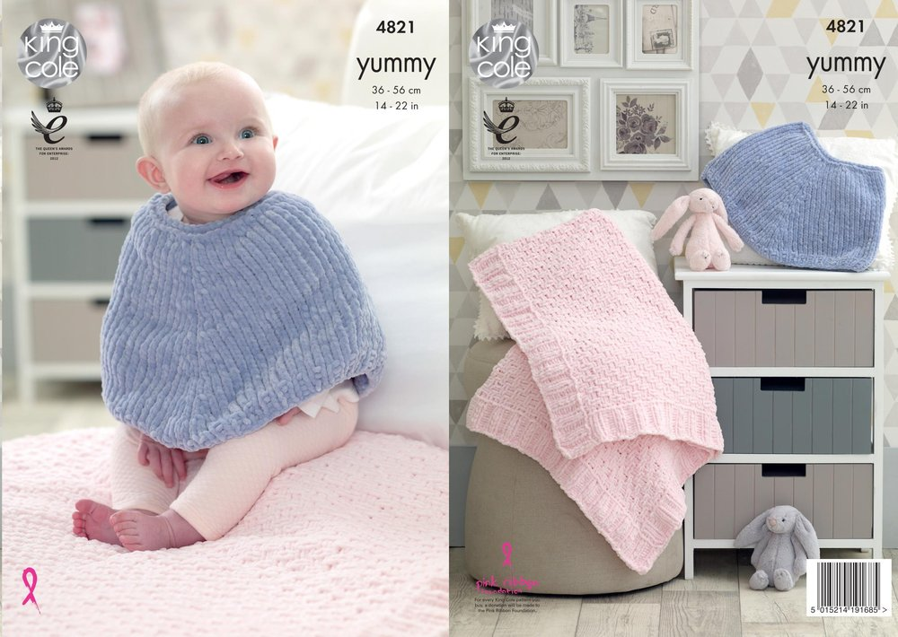 King Cole 4821 Knitting Pattern Baby Poncho And Blanket In King Cole