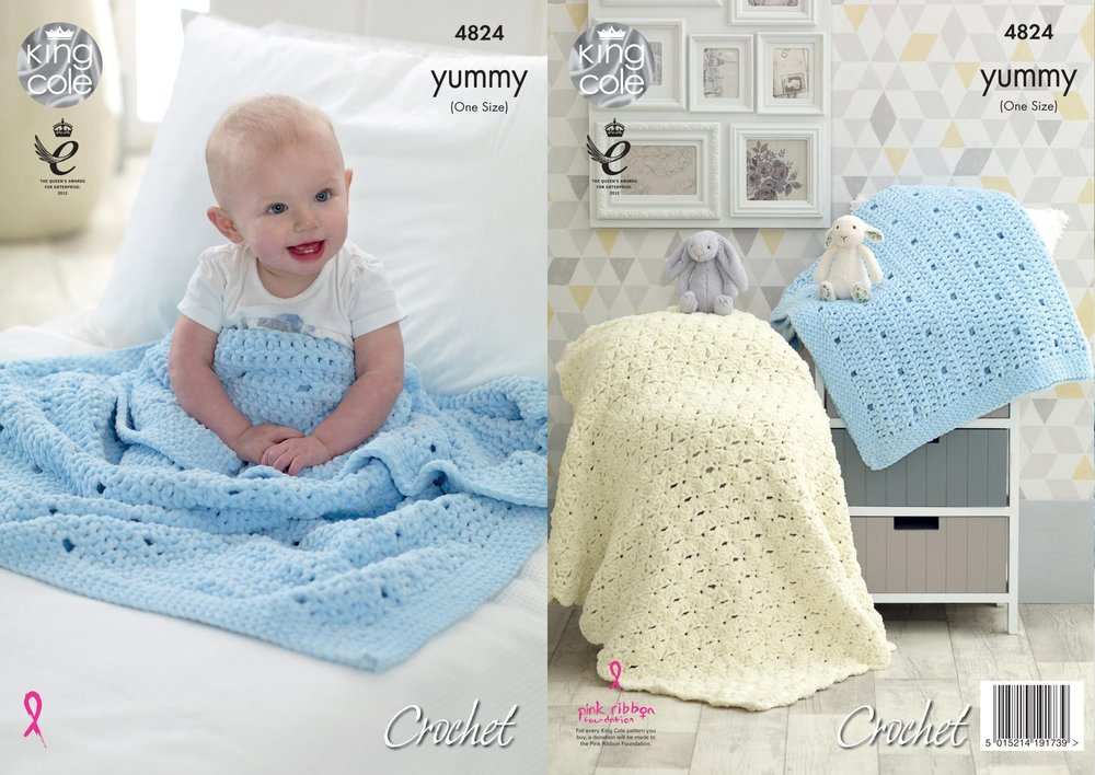 King Cole 4824 Crochet Pattern Baby Blankets In King Cole Yummy