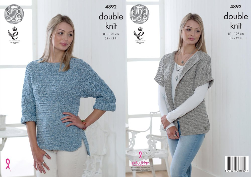 011cc7c75 King Cole 4892 Knitting Pattern Womens Cardigan and Sweater in King Cole  Authentic DK - Athenbys