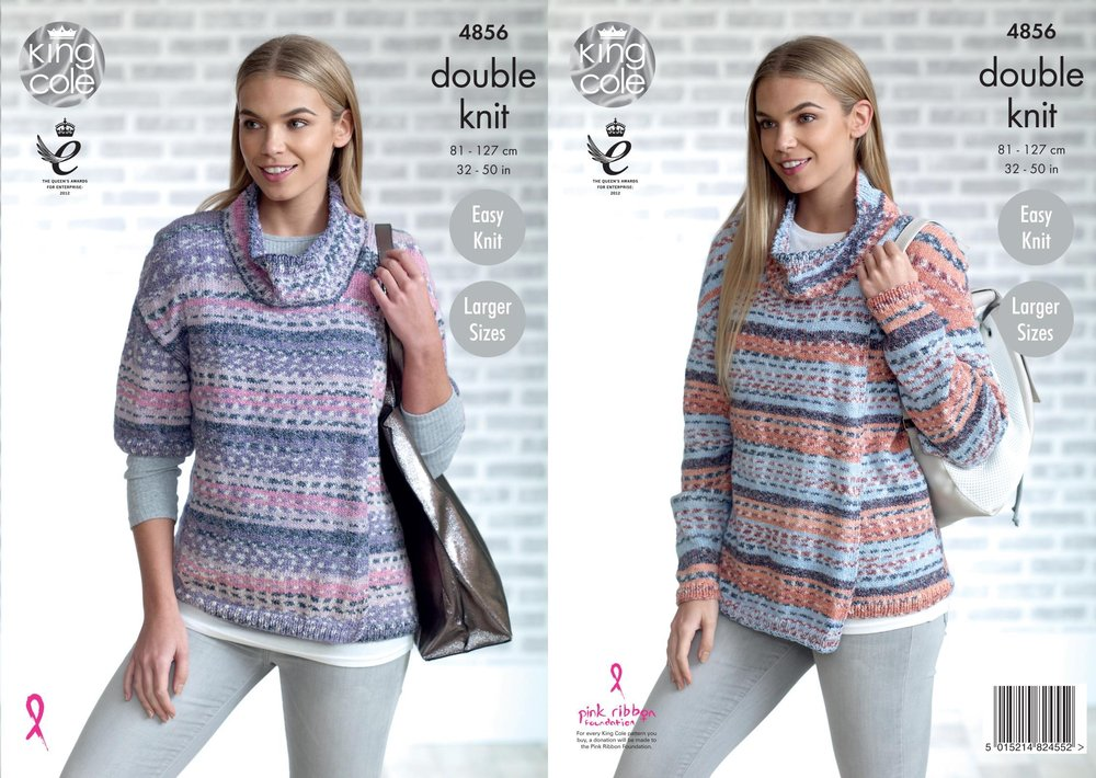 King Cole 4856 Knitting Pattern Womens Easy Knit Cardigans In King