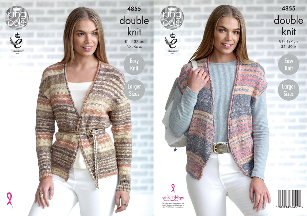 King Cole 4855 Knitting Pattern Womens Easy Knit Cardigan and ...