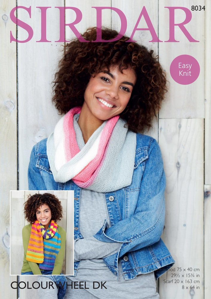 Sirdar 8034 Knitting Pattern Womens Easy Knit Snood and Scarf in Colourwheel DK