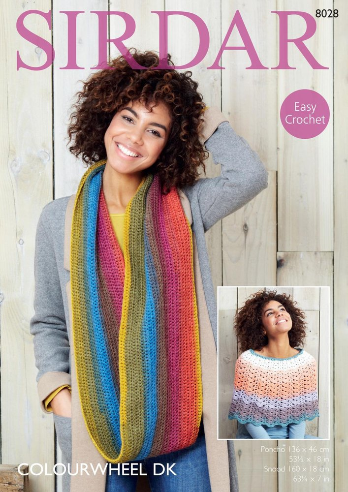 Sirdar 8028 Crochet Pattern Womens Easy Crochet Poncho And Snood In