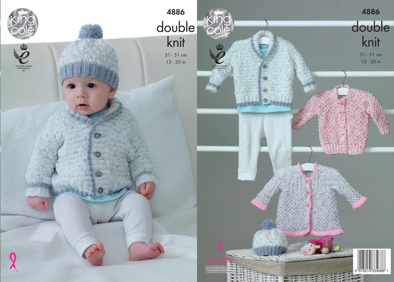 King Cole 4886 Knitting Pattern Baby Jacket Cardigan Coat & Hat in ...