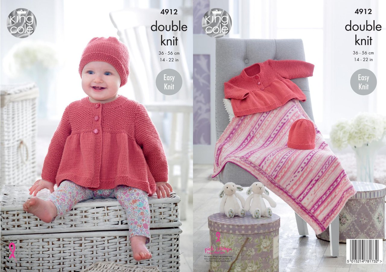 King Cole 4912 Knitting Pattern Baby Easy Knit Jacket Hat & Blanket ...