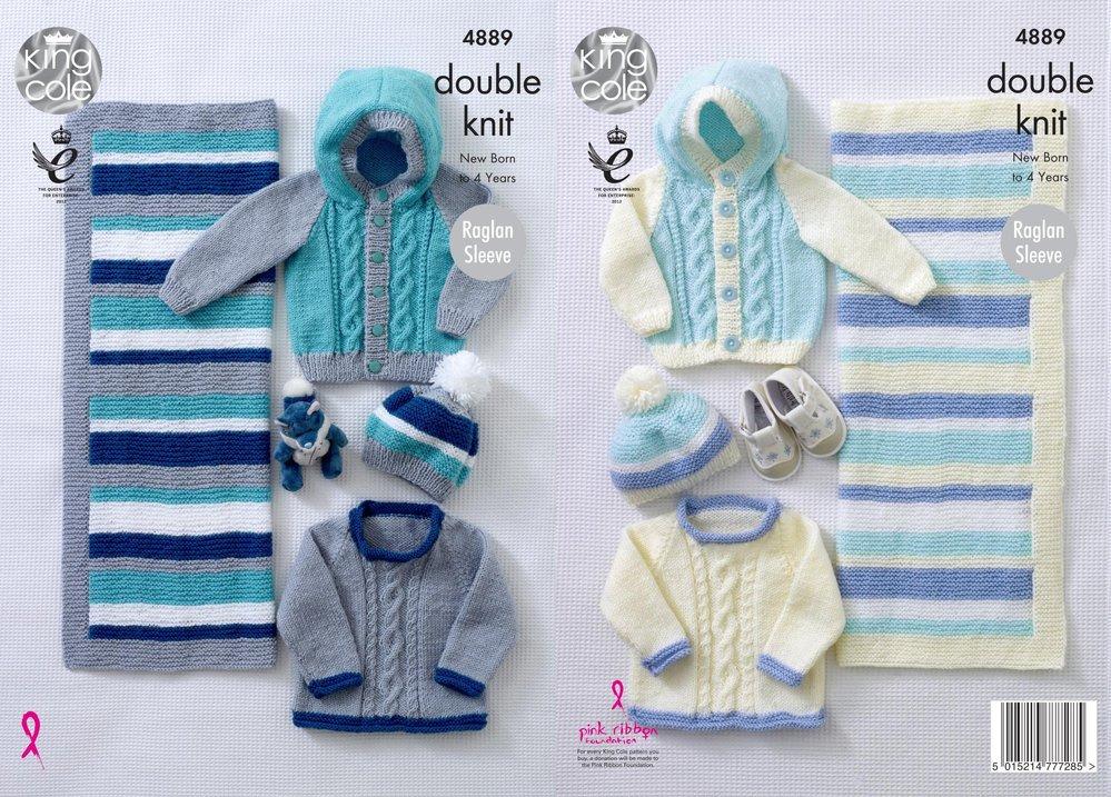 Knitting Pattern Easy Knit Raglan King Cole Baby Sweaters /& Cardigan DK 4913